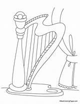 Harp Coloring Kidsuki sketch template