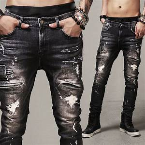 ヾ(^ ^)ノTight Mens Ripped Jeans /Slim ᗕ Fit Fit •̀ •́ Black ...