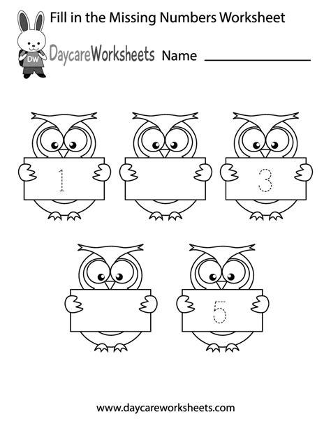 Free Preschool Fill In The Numbers Worksheet