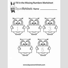 Free Preschool Fill In The Numbers Worksheet