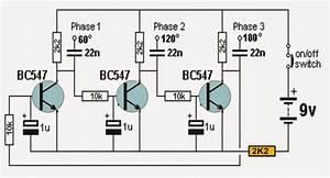 Transistor Based 3 Phase Sine Wave Generator Circuit