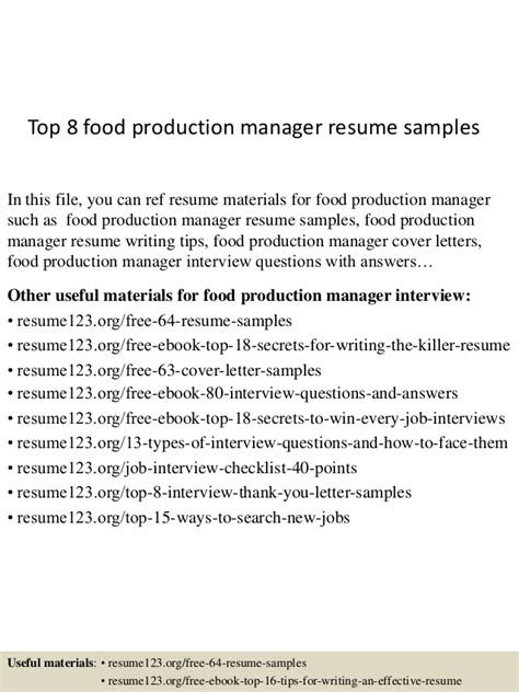 top 8 food production manager resume sles