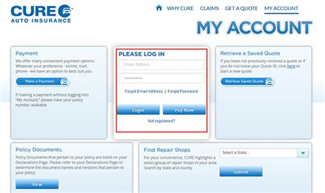 Please select the one you are interested in. CURE Auto/Car Insurance Login   Make a Payment