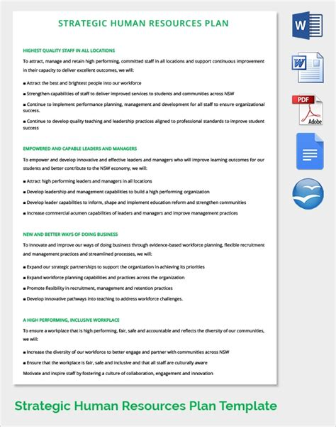 sample hr strategy templates   word