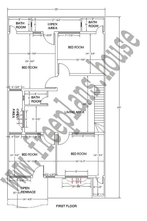 st floor  feet  square meters house plan