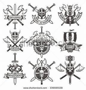 Dessin Symbole Viking : viking logos set in vintage style emblems with skulls and axes tatouage pinterest ~ Nature-et-papiers.com Idées de Décoration