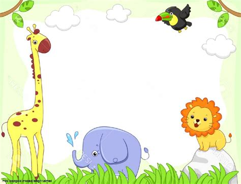 Baby Jungle Animals Wallpaper Border - baby animal clipart borders jungle cliparts baby animal