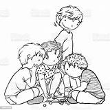 Marbles Coloring Playing Children sketch template