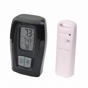 Acurite 00415 Wireless Thermometer With Clock  Black