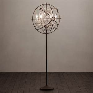 gyro crystal floor lamp antique rust images frompo With gyro chandelier floor lamp