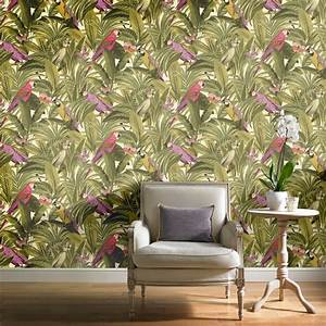 Grandeco Botanical Trees Leaves Pattern Wallpaper Birds ...
