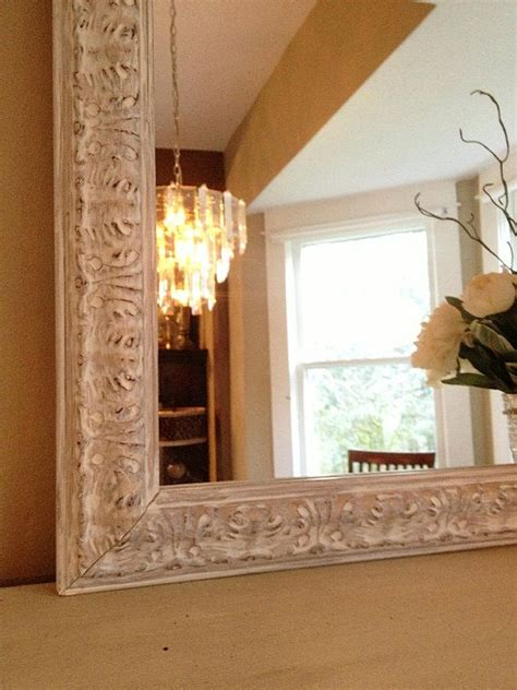 white chalk paint mirror distressed ornate wood frame