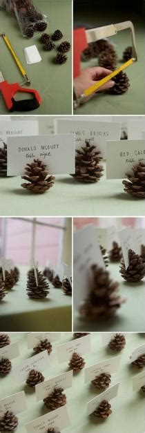 winter wedding place card table pinecone place card holders wedding ideas pinecone weddbook