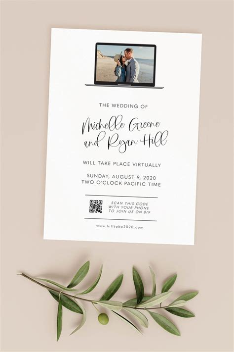 virtual wedding invitation template printable virtual