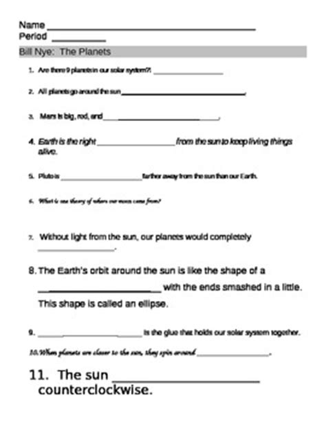 bill nye planet worksheet bill nye nye and solar