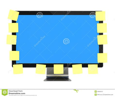computer monitor with post it royalty free stock photography image 26590157