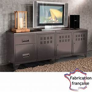 Deco Industrielle Pas Cher : meuble tv m tal taupe style industriel so french deco ~ Teatrodelosmanantiales.com Idées de Décoration