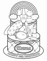 Coloring Pages Printable Spa Polish Makeup Party Cake Rainbow Themed Cosmetic Personalized Studio Getdrawings Favor Childrens Pdf sketch template