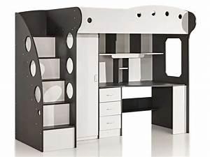 Lit Mezzanine Blanc : chambre d enfant original 11 lit mezzanine 90x190 cm sunny coloris blanc gris vente cgrio ~ Teatrodelosmanantiales.com Idées de Décoration