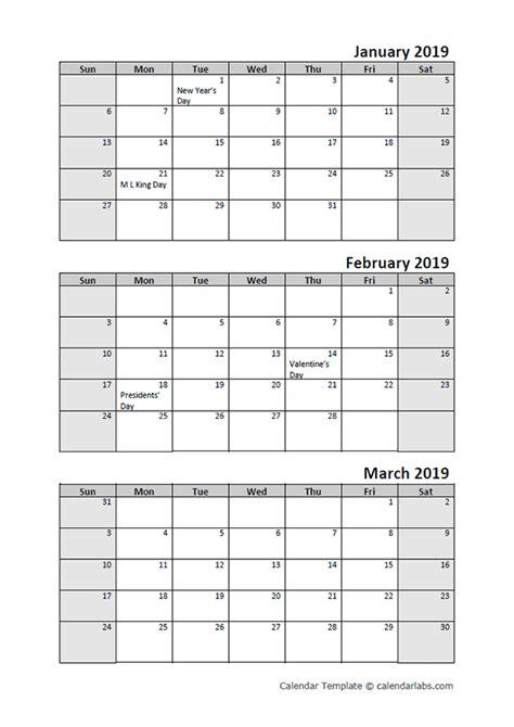 quarterly calendar printable  month templates