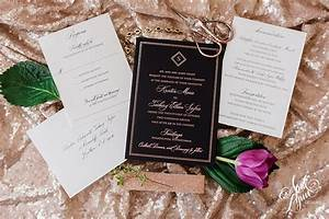 kristin zachs luxury rose gold foil and black wedding With black white and rose gold wedding invitations