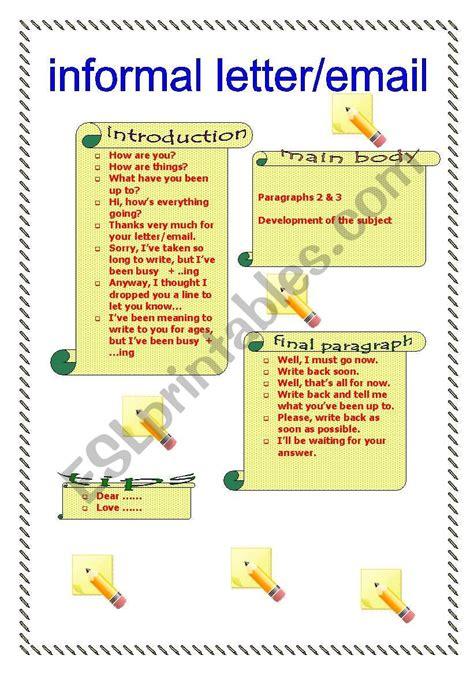 informal letter email esl worksheet  liliaamalia