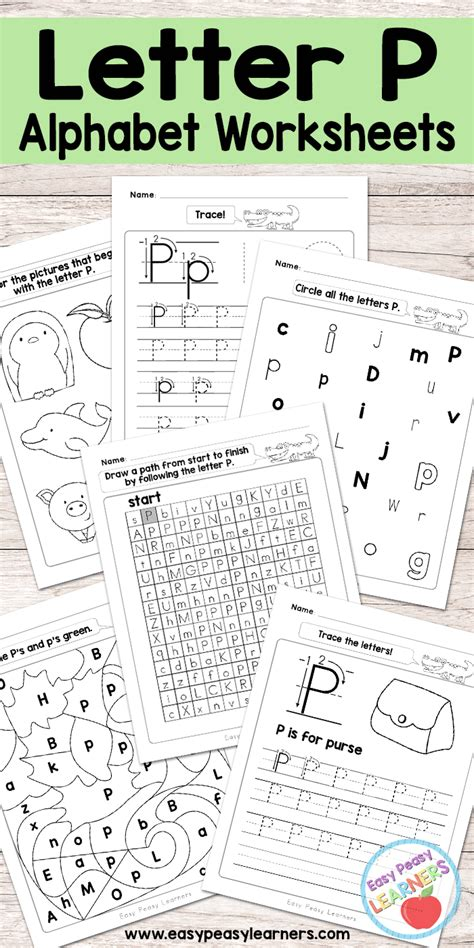 letter p worksheets alphabet series easy peasy learners