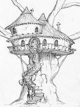 Tree Coloring Pages Fairy Drawings Colouring Fantasy Treehouse Drawing Trees Arccil Sketches sketch template