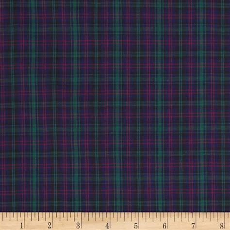 tartan plaid navy green discount designer fabric fabric