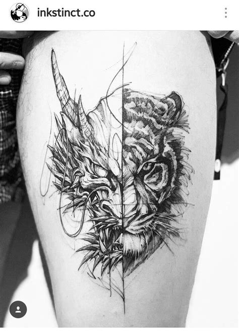 Pin by Yorsenen Mookien on artwork | Tiger tattoo, Dragon tiger tattoo, Tattoos