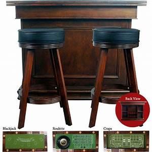 Bar A Roulette : game table poker blackjack craps roulette bar height swivel stools walnut felt traditional ~ Teatrodelosmanantiales.com Idées de Décoration