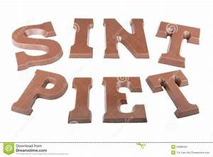 chocolate letters making the word sint and stock image With dutch chocolate letters