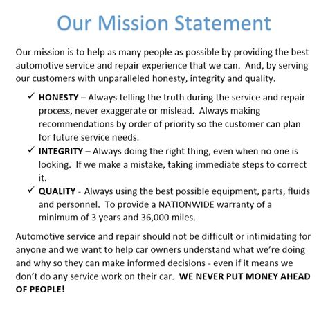 our mission statement auto repair