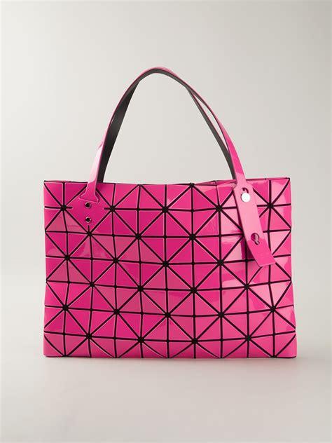 lyst bao bao issey miyake geometric pattern tote bag  pink