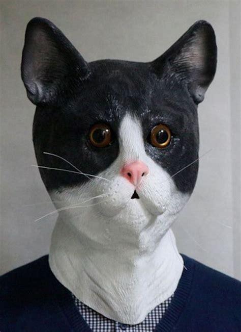 black white latex cat mask realistic eyes