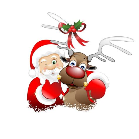 Clipart Babbo Natale Babbo Natale E Renna Santa Claus And Reindeer