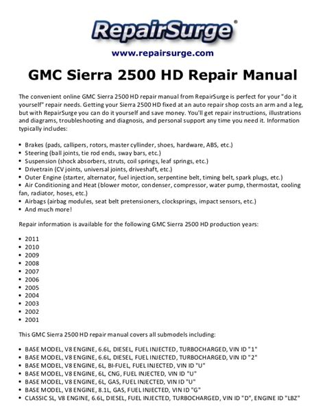 online car repair manuals free 2008 gmc sierra on board diagnostic system gmc sierra 2500 hd repair manual 2001 2011