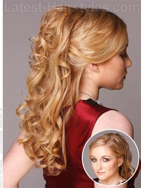 half updos for long hair half up half down prom