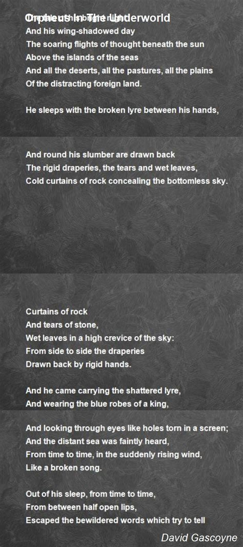 orpheus   underworld poem  david gascoyne poem hunter