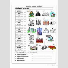 Vocabulary Matching Worksheet  Buildings Worksheet  Free Esl Printable Worksheets Made By Teachers