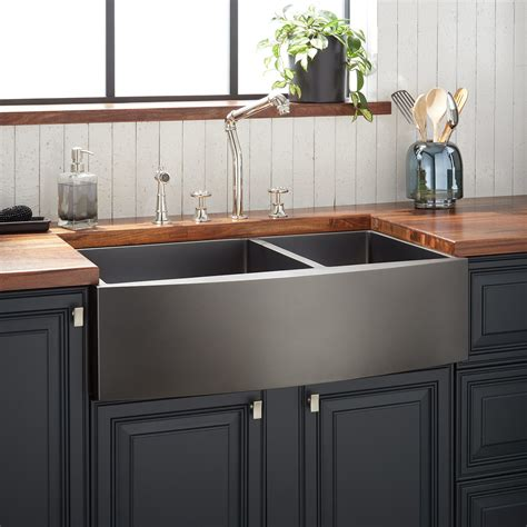 Black Stainless Steel Farmhouse Sink by Large Stainless Steel Farmhouse Sink Signature Hardware