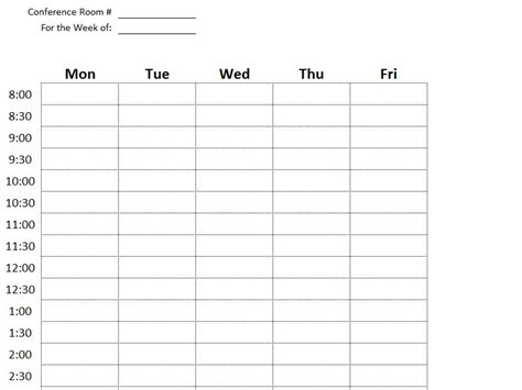 conference room scheduling template conference room