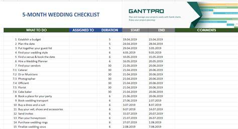 month wedding planning checklist excel template