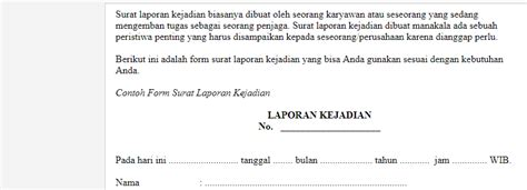 contoh surat laporan kejadian