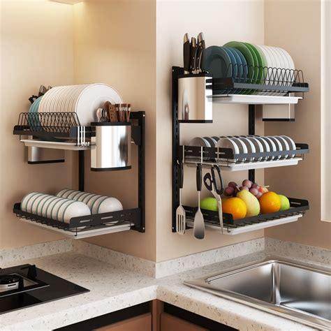 black stainless steel dish rack wall hanging bowl plate rack drain shelf  punching kitchen