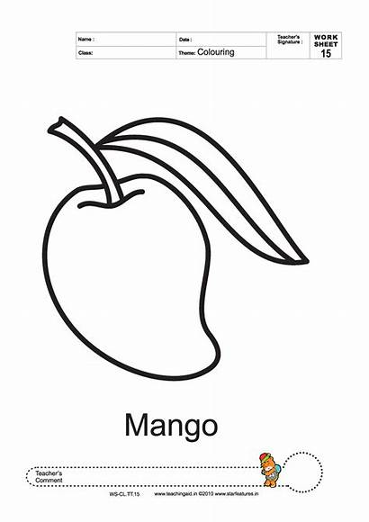 Mango Coloring Pages Colouring Clipart Worksheets Fruits