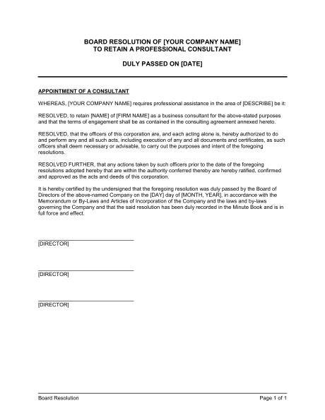 board resolution template board resolution to retain a professional consultant template sle form biztree