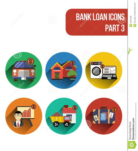 Round Flat Icons For Various Types Of Bank Loan Services