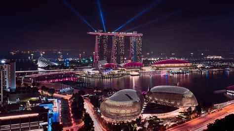 wallpaper marina bay sands cityscape night singapore