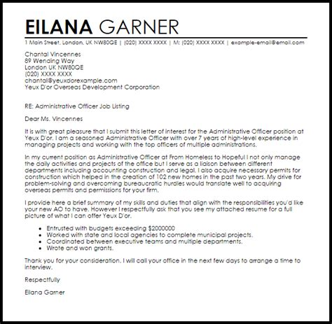 administrative officer cover letter sample livecareer